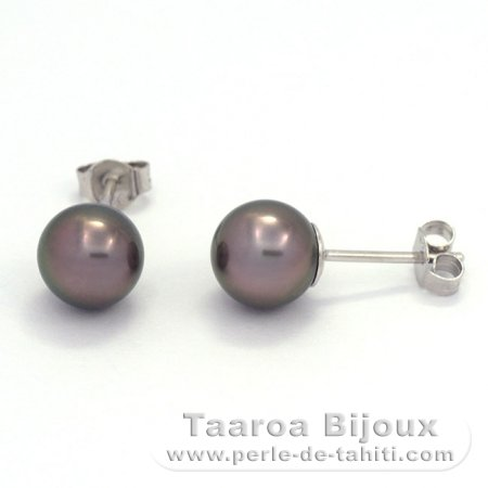 Rhodiated Sterling Silver Earrings and 2 Tahitian Pearls Round C 8.2 mm