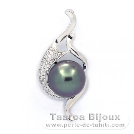 Rhodiated Sterling Silver Pendant and 1 Tahitian Pearl Near-Round C 11.2 mm
