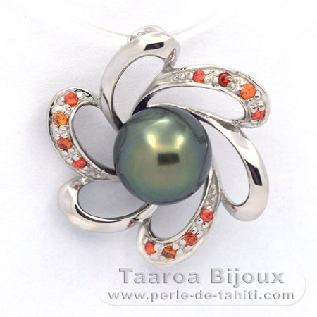 Rhodiated Sterling Silver Pendant and 1 Tahitian Pearl Semi-Baroque B+ 8.2 mm