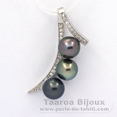 Rhodiated Sterling Silver Pendant and 3 Tahitian Pearls Round C 8.3 mm