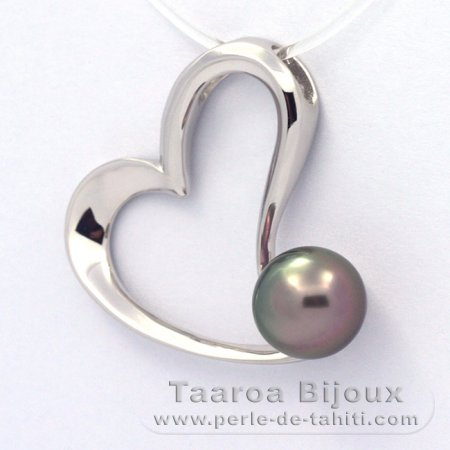Rhodiated Sterling Silver Pendant and 1 Tahitian Pearl Semi-Baroque B 9.1 mm