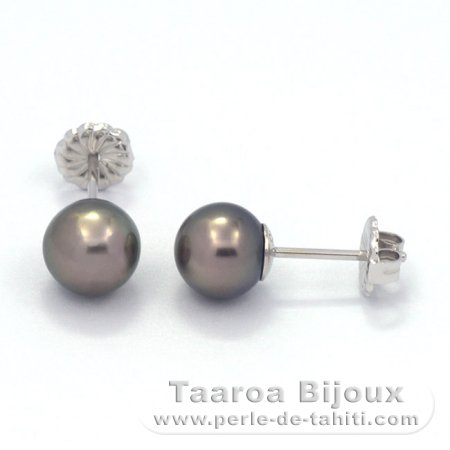 Rhodiated Sterling Silver Earrings and 2 Tahitian Pearls Round C 8.4 mm