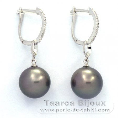 Rhodiated Sterling Silver Earrings and 2 Tahitian Pearls Round B/C 11.3 mm