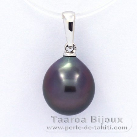 18K Solid White Gold Pendant and 1 Tahitian Pearl Semi-Baroque B 10.3 mm
