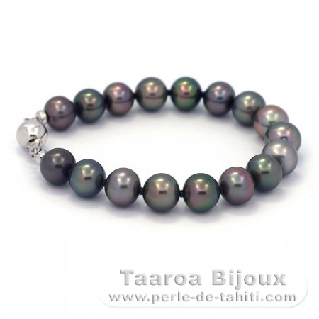 17 Tahitian Pearls Semi-Baroque B 9 to 9.4 mm Bracelet and Rhodiated Sterling Silver