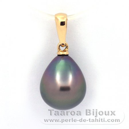 18K solid Gold Pendant and 1 Tahitian Pearl Semi-Baroque A 9.7 mm