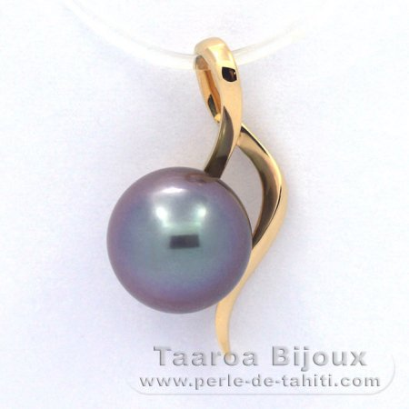 18K solid Gold Pendant and 1 Tahitian Pearl Round B 9 mm