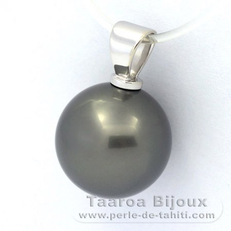 18K Solid White Gold Pendant and 1 Tahitian Pearl Round B 13 mm