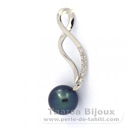 Rhodiated Sterling Silver Pendant and 1 Tahitian Pearl Round C+ 9.2 mm