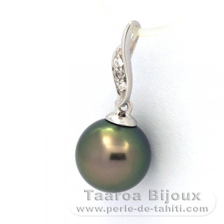 Rhodiated Sterling Silver Pendant and 1 Tahitian Pearl Round C 8.8 mm