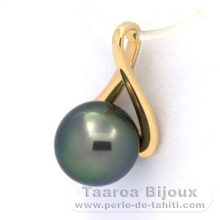 18K solid Gold Pendant and 1 Tahitian Pearl Round A 8.4 mm