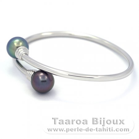 Rhodiated Sterling Silver Bracelet and 2 Tahitian Pearls Round C+ 10.8 mm