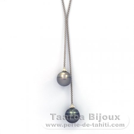Rhodiated Sterling Silver Necklace and 2 Tahitian Pearls Ringed C 13 and 13.1 mm