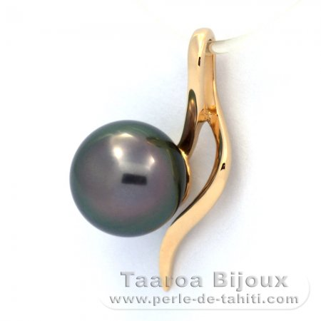 18K solid Gold Pendant and 1 Tahitian Pearl Round A 8.7 mm