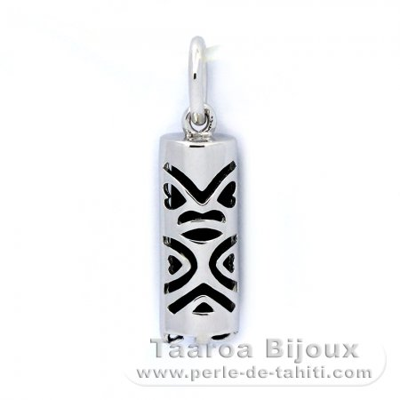 Silver and Black Agate Tiki - 15 mm - Luck