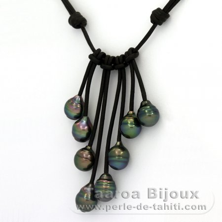 Leather Necklace and 8 Tahitian Pearls Ringed B  9 to 9.2 mm