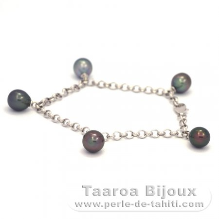 Rhodiated Sterling Silver Bracelet and 5 Tahitian Pearls Semi-Baroque A/B  8 to 8.5 mm