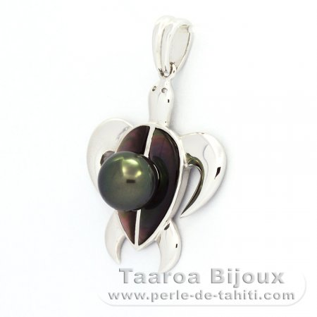 Rhodiated Sterling Silver Pendant and 1 Tahitian Pearl Round B 8.3 mm