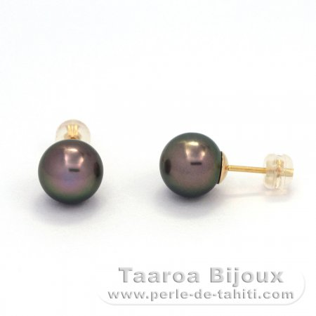18K solid Gold Earrings and 2 Tahitian Pearls Round 1 B & 1 C 9.7 mm