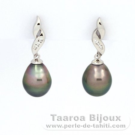 Rhodiated Sterling Silver Earrings and 2 Tahitian Pearls Semi-Baroque B 9 and 9.2 mm