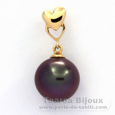 18K solid Gold Pendant and 1 Tahitian Pearl Round A 10.3 mm