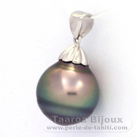 Rhodiated Sterling Silver Pendant and 1 Tahitian Pearl Ringed C 14.4 mm
