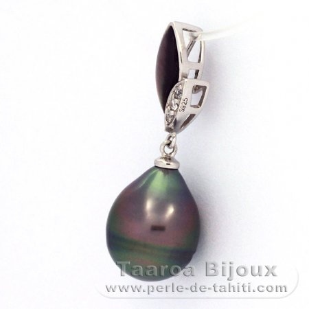 Rhodiated Sterling Silver Pendant and 1 Tahitian Pearl Ringed B 10.9 mm