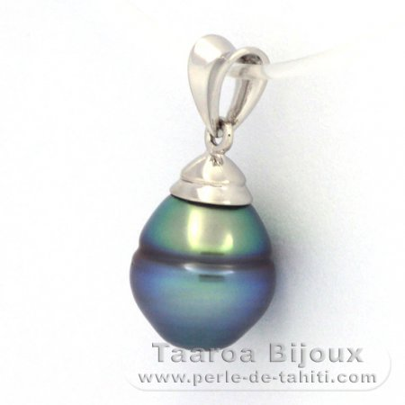 Rhodiated Sterling Silver Pendant and 1 Tahitian Pearl Ringed B+ 9.4 mm