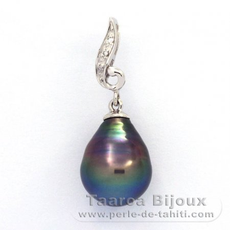 Rhodiated Sterling Silver Pendant and 1 Tahitian Pearl Ringed A 9.8 mm