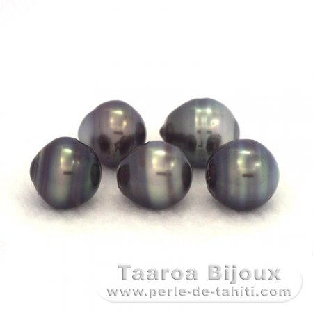 Lot of 5 Tahitian Pearls Ringed C/D from 9.5 to 9.9 mm