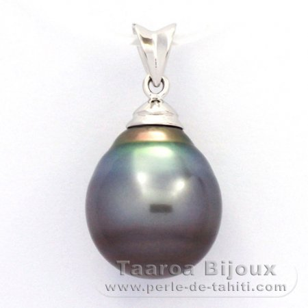 Rhodiated Sterling Silver Pendant and 1 Tahitian Pearl Ringed C 12.8 mm