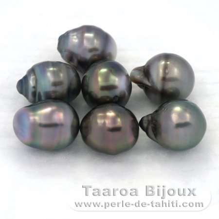 Lot of 7 Tahitian Pearls Baroque D from 9.5 to 9.9 mm