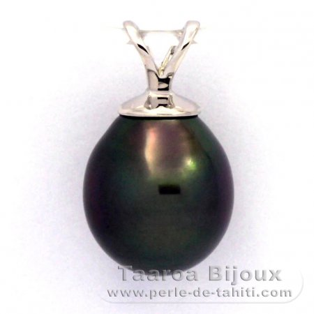 Rhodiated Sterling Silver Pendant and 1 Tahitian Pearl Semi-Baroque B 9.5 mm