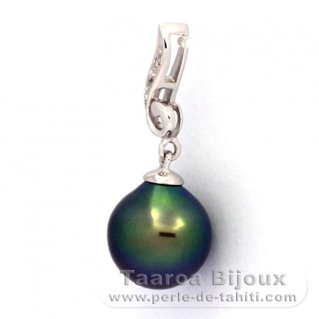 Rhodiated Sterling Silver Pendant and 1 Tahitian Pearl Semi-Baroque B+ 9.4 mm