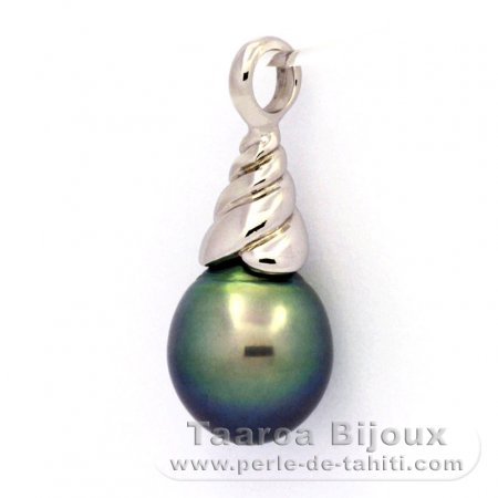 Rhodiated Sterling Silver Pendant and 1 Tahitian Pearl Semi-Baroque C 10.1 mm