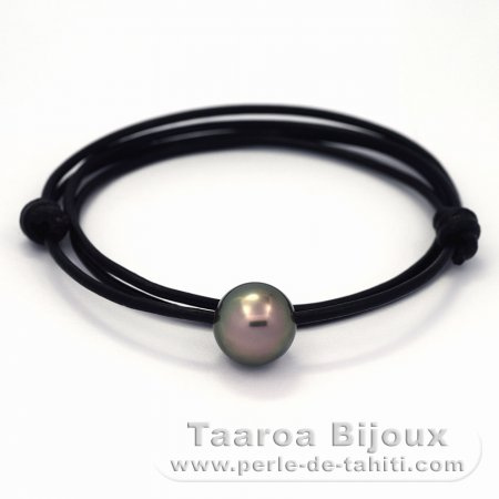 Leather Necklace and 1 Tahitian Pearl Round C 13.4 mm