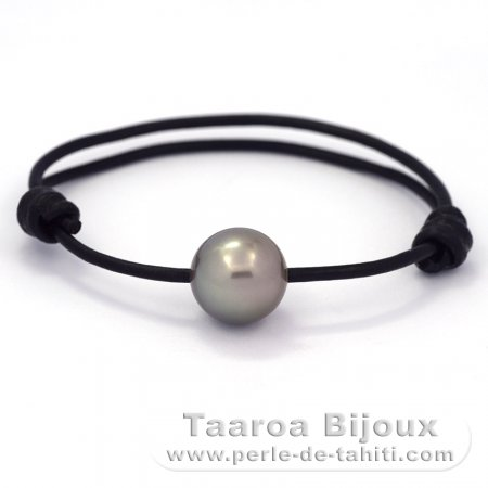 Leather Bracelet and 1 Tahitian Pearl Round C 13.5 mm