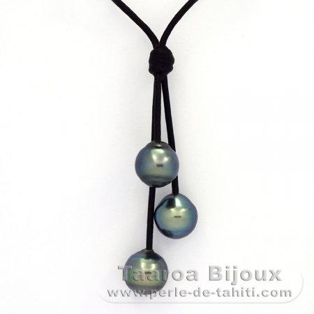 Leather Necklace and 3 Tahitian Pearls Ringed C+  10 to 10.3 mm