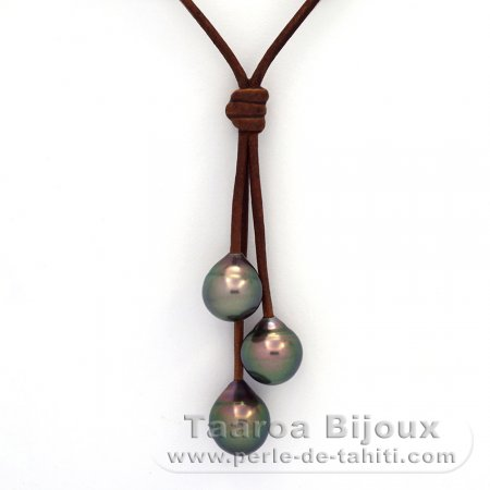 Leather Necklace and 3 Tahitian Pearls Semi-Baroque B  9.5 to 9.9 mm