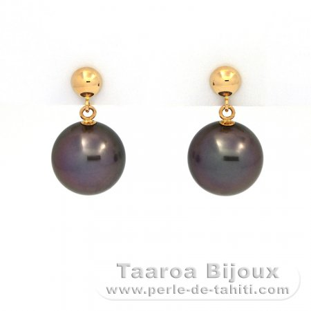 18K solid Gold Earrings and 2 Tahitian Pearls Round 1 B & 1 C 9.7 and 9.8 mm