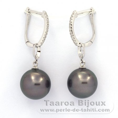 Rhodiated Sterling Silver Earrings and 2 Tahitian Pearls Round C 11.1 and 11.2 mm