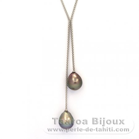 Rhodiated Sterling Silver Necklace and 2 Tahitian Pearls Semi-Baroque C 12.4 mm