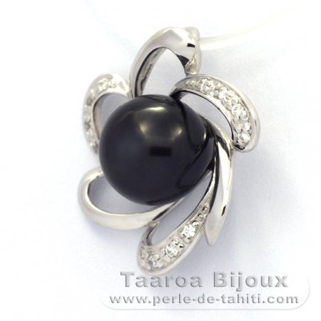 Rhodiated Sterling Silver Pendant and 1 Tahitian Pearl Semi-Baroque B 9.2 mm