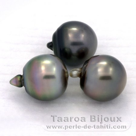 Lot of 3 Tahitian Pearls Semi-Baroque C from 12 to 12.2 mm