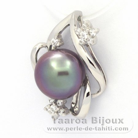Rhodiated Sterling Silver Pendant and 1 Tahitian Pearl Semi-Baroque B 9.8 mm