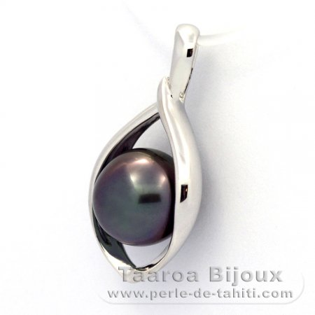 Rhodiated Sterling Silver Pendant and 1 Tahitian Pearl Semi-Baroque B 9 mm
