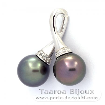 Rhodiated Sterling Silver Pendant and 2 Tahitian Pearls Near-Round C 10.5 mm