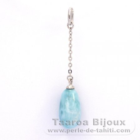 Rhodiated Sterling Silver Pendant and 1 Larimar - 13 x 7 mm - 1.07 gr