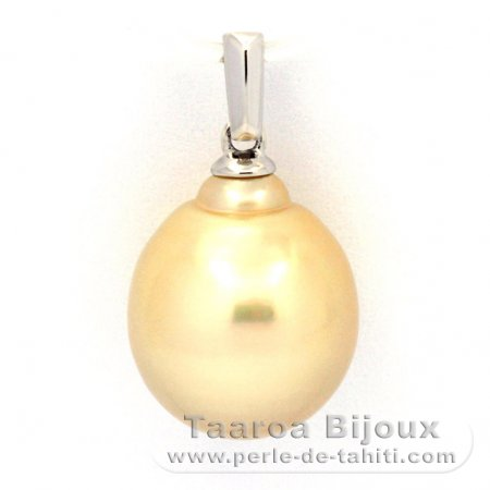 Rhodiated Sterling Silver Pendant and 1 Australian Pearl Baroque C 11.8 mm