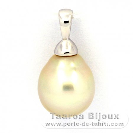 Rhodiated Sterling Silver Pendant and 1 Australian Pearl Semi-Baroque B 10.4 mm